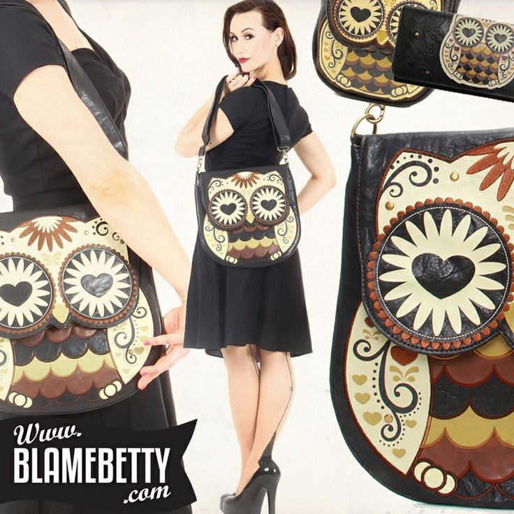this adorable Owl With Heart Eyes bag is simply a must have! #blamebetty #owl #pinupstyle #pinup #rockabilly