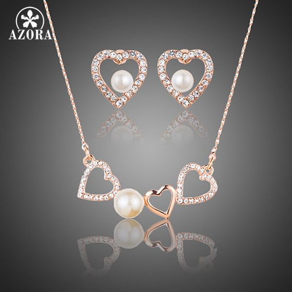 AZORA Romantic Rose Gold Color Stellux Austrian Crystal Pearl Heart Stud Earrings and Pendant Necklace Jewelry Set TG0189