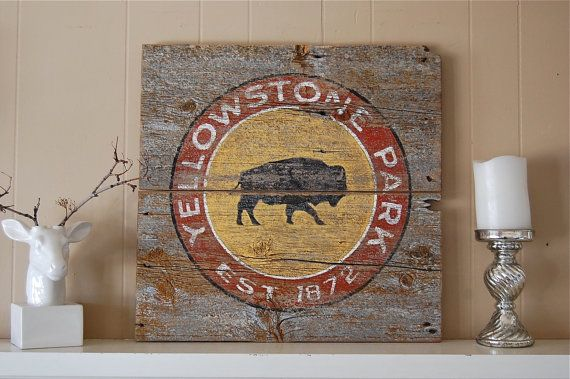Rustic Yellowstone National Park Sign on Montana by salvagesigns