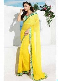 Party Wear Georgette Yellow Lace Border Work Saree