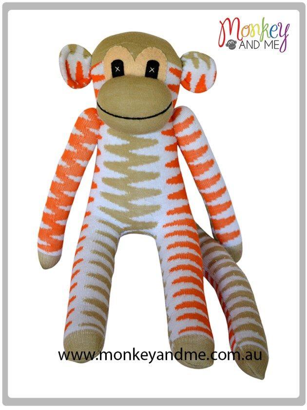 Beige and Orange chevron Sock Monkey  Adopt over at http://monkeyandme.com.au #sockmonkeys #gifts #toys