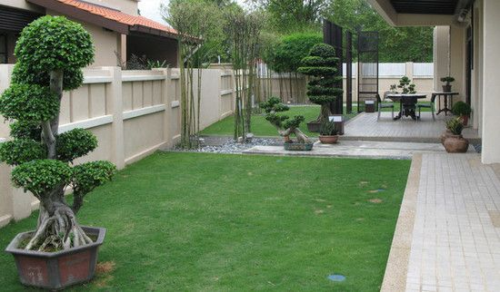Simple asian backyard design asian hone decor for Small front yard patio ideas