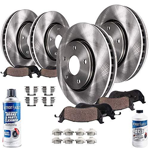 Detroit Axle All 4 Front And Rear Disc Brake Rotors W Ceramic Pads W Hardware Clips And Brake Cleaner Fluid Brakes And Rotors Brake Rotors Ceramic Brakes