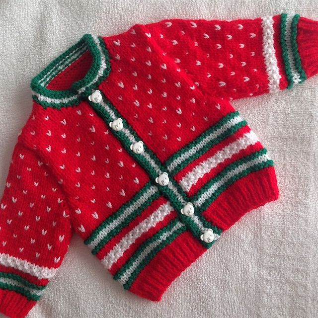 Ravelry: Christmas Snow Time Baby Cardigan pattern by Mary Edwards