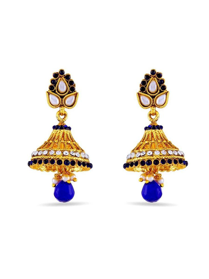 Blue Diamantes Jhumka with diamantes, pearls, crystal work. Item Code: JRUM618 http://www.bharatplaza.com/new-arrivals/jewellery.html