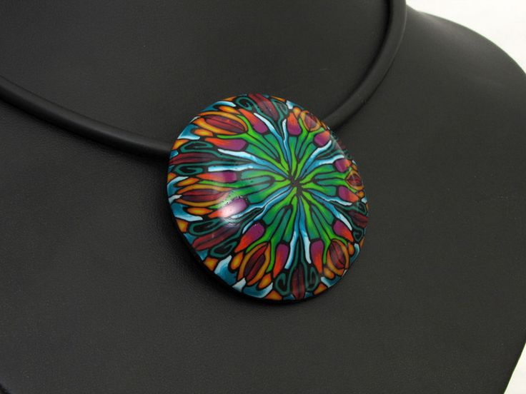 Statement Ketten - Halskette Hundertwasser, Kunst aus Polymer clay - ein Designerstück von filigran-Design bei DaWanda