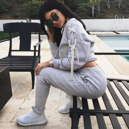 Accessories Haul: Kylie Jenner's Instagram Dior Square Abstract Sunglasses in Havana Green, Adidas Tubular Defiant Shoes in Color Core White and Les Petits Joueurs Mini Alex Eyes Fur Purse