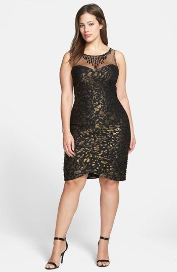 Adrianna Papell Metallic Pattern Shirred Sheath Dress (Plus Size) available at #Nordstrom