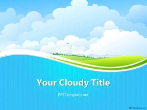 Free Sky PPT Template, cool cloudy powerpoint background for Microsoft PowerPoint presentations with light colors design