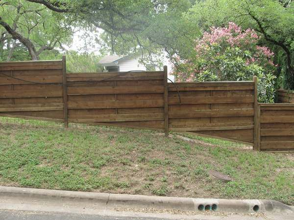 build  fence   slope google search sloped