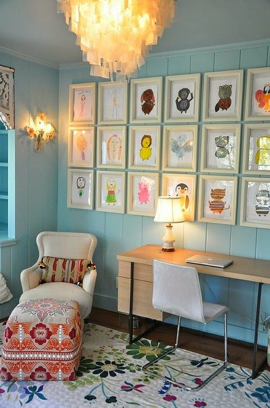 A beautiful way to display children's artwork and bring colour into the room, interior inspiration, living space