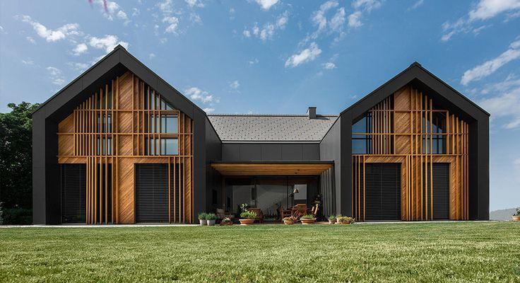 บ านทรงจ วส ง ลดรายละเอ ยดให โมเด ร น บ านท ให ความสงบแบบเร ยบง ายในสไตล โรงนา น าจะ Modern Barn House Contemporary Architecture House House Designs Exterior