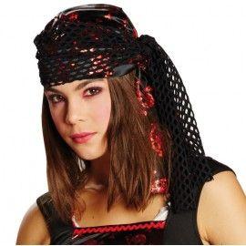 Bandana pirate noir rouge ado
