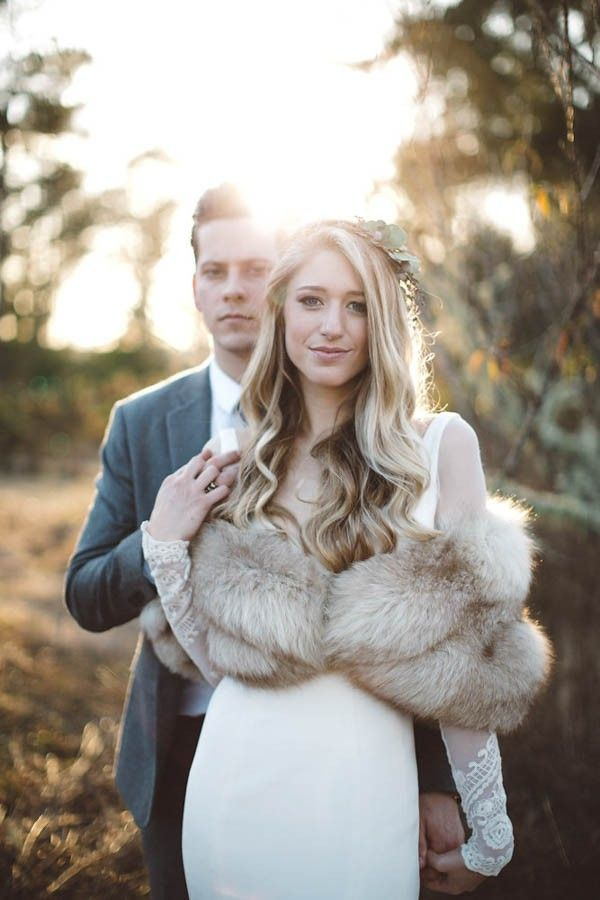 lacy, long-sleeved bridal style & elegant fur
