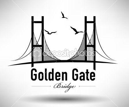 Golden gate brug typografisch ontwerp — Stockillustratie #39181399