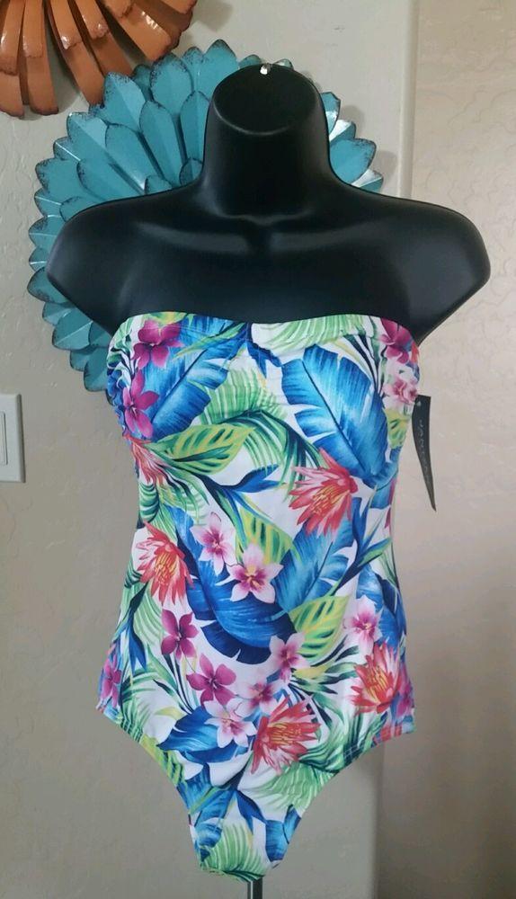 New Women Jantzen Classics Convertble Strapless Halter Style Swim Suit Size 8 #Jantzen #OnePiece