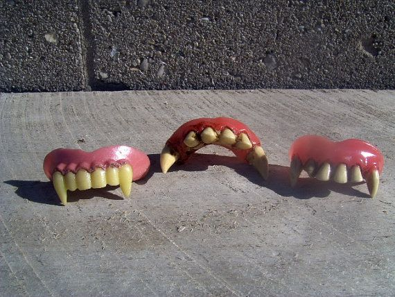 Vampire Fangs Teeth Fits Over Top Front Teeth by LoftyLadyVintage, $8.00