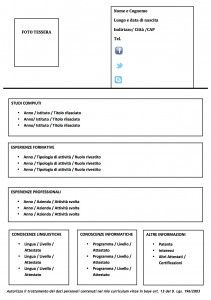 Modello Curriculum da compilare : Modello Curriculum