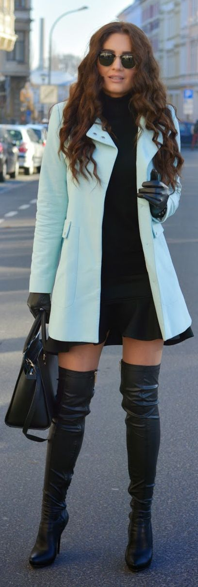 Light Blue Preppy Coat by Stylish !