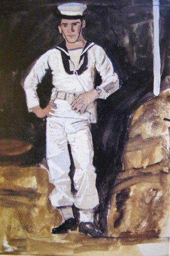 Sailor and white column, 1962 by Yannis Tsarouchis.