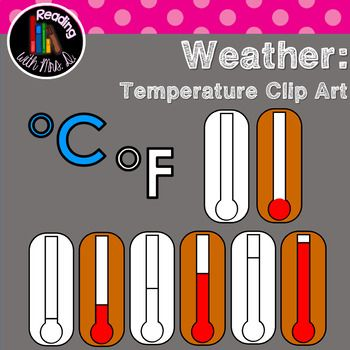 Are you creating a resource to teach students about temperature and weather? Grab your thermometers here! Includes TWENTY Temperature related Pieces Includes Color AND Black and White 8 Thermometers Celsius Fahrenheit If you use my clip art, please include a link to my store with the enclosed store button.