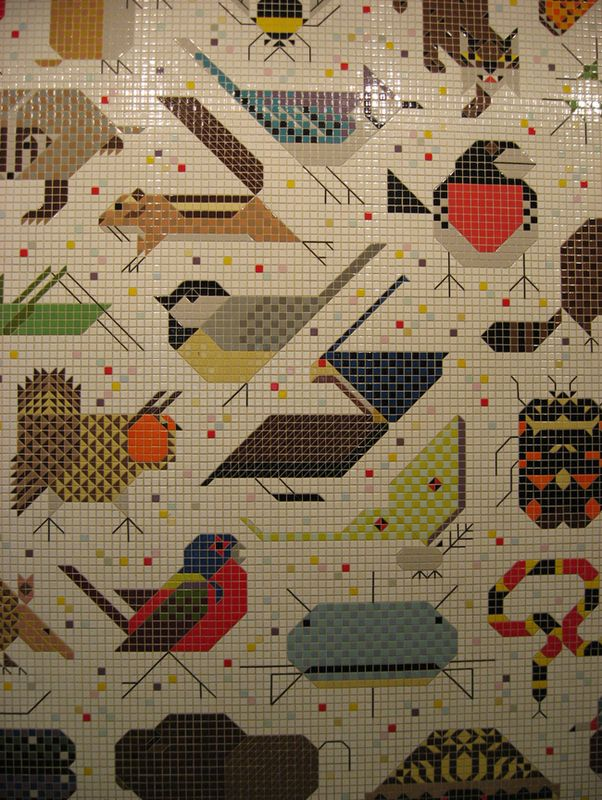 Charley Harper mosaic...John Weld Peck Federal Building in Cincinnati. Put this on my bucket list to go see.