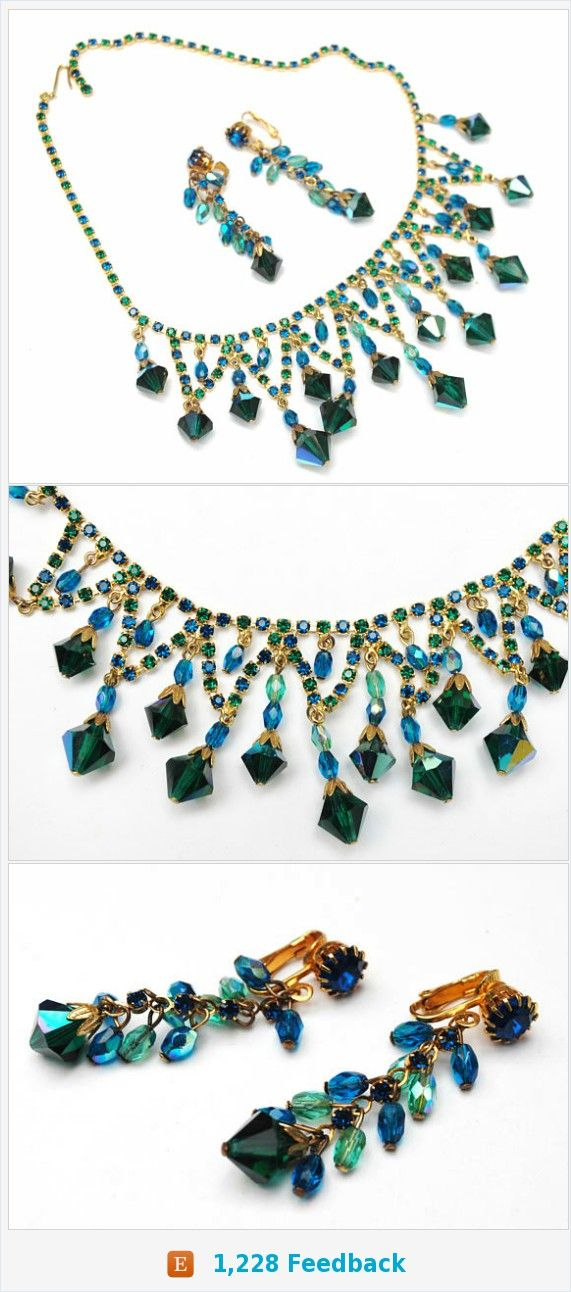 Agua Crystal Rhinestone Bib Necklace EArrings SEt Demi - Blue green Dangle Aurora Borealis Crystal - Clip on earrings - Statement Necklace https://www.etsy.com/serendipitytreasure/listing/577906389/agua-crystal-rhinestone-bib-necklace?ref=listing_published_alert