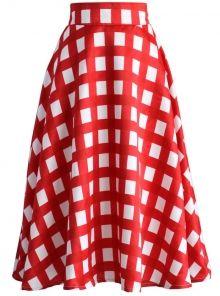 POSHme - Chicwish kostkovaná retro sukně Queen
