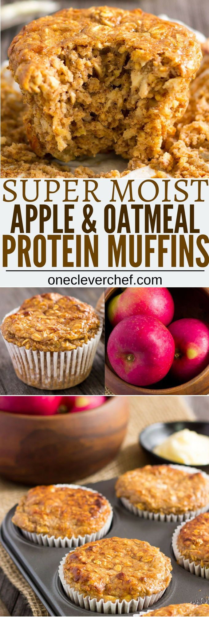 I love these super moist and tender apple protein muffins. These yummy little ones are protein-packed, 100% healthy, naturally sweetened with maple syrup (could be replaced with honey) and extra easy to make. They are the perfect on-the-go clean eating breakfast or post-workout lunch. These are also gluten-free, dairy-free and can be made vegan by replacing the eggs with flax eggs or applesauce.  onecleverchef.com