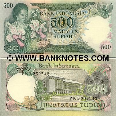 Indonesia 500 Rupiah 1977 (woman with orchids; Bank of Indonesia)
