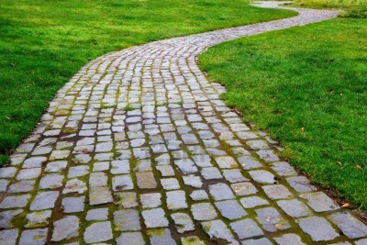 Old worn and broken Curvy Brick Path in grass