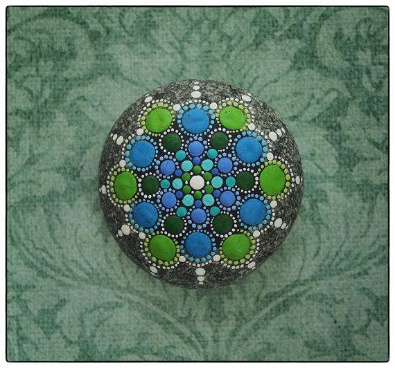 Jewel Drop Mandala Painted Stone- Regal Jewels