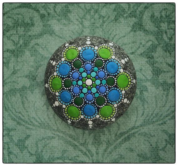 Jewel Drop Mandala Painted Stone- Regal Jewels