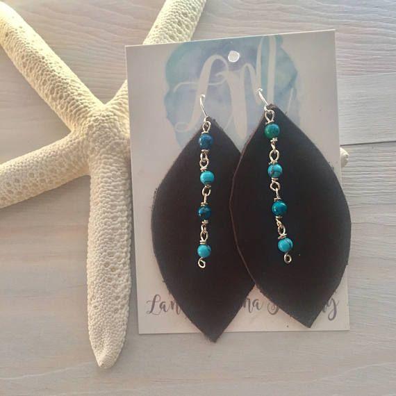 Leather leaf earrings Boho Leather Earrings Large