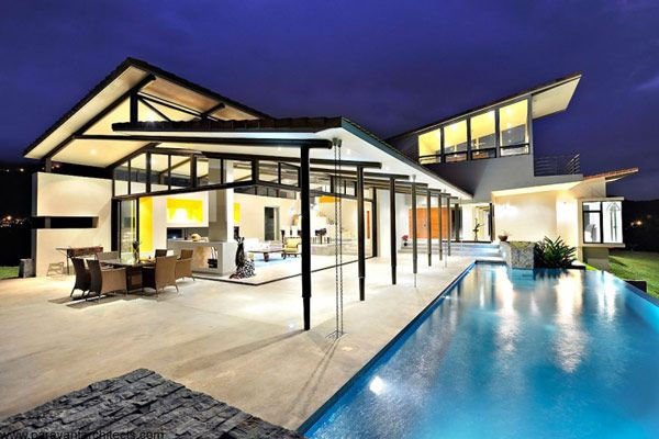 A beautiful modern home in Costa Rica built to allow fresh air circulation throughout the house.