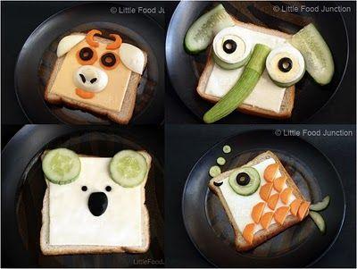 Fun food kids toast fish fisch brot bread elephant Elefant koala stier tiere animals easy cheese carrots cucumbr gurke käse gouda breakfast frühstück eifnach schnell oliven olives