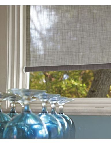 I like the linen finish. The color is sheer linen/slate, in a roller shade with cordless lift.