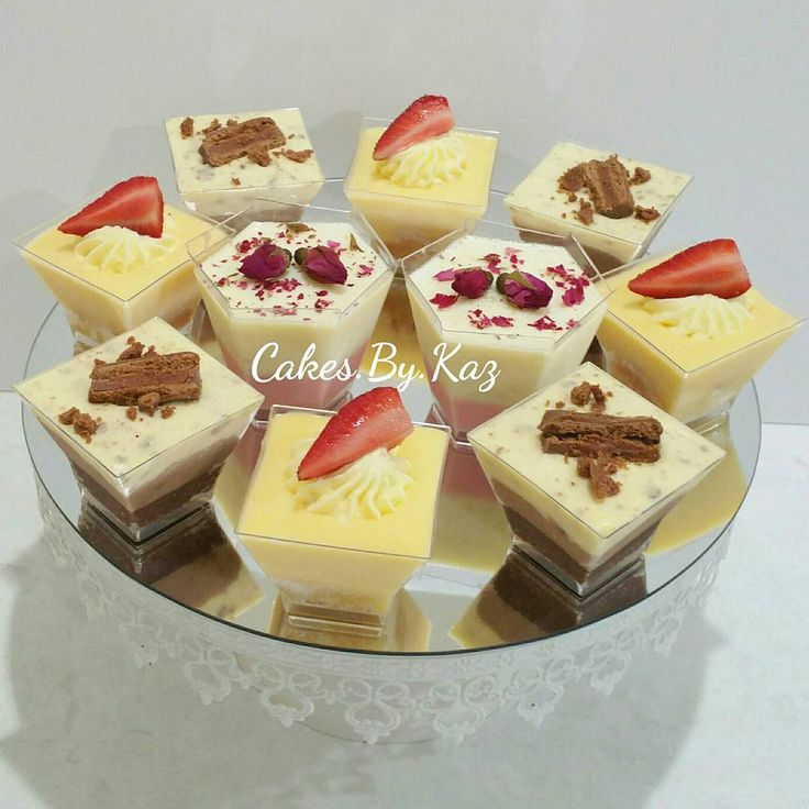 Mini desserts - Vanilla bean Panna Cotta topped with edible rose buds, Trifle &  Double chocolate layered Tim Tam cheese cake