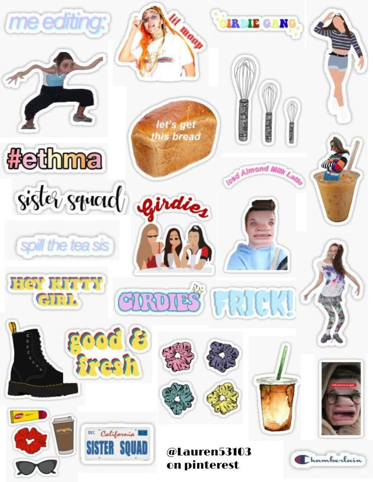 Emma Chamberlain sticker pack stickers basic scrunchies
