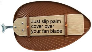 Brilliant. I love a palm ceiling fan blade- what an easy way to upgrade! From http://www.old-fashioned-values.com