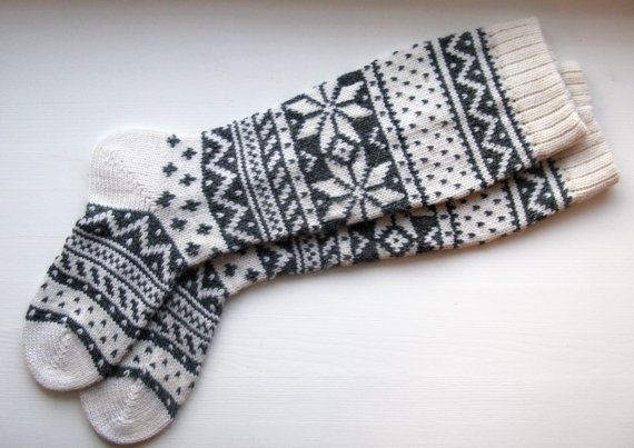 Back to school  Scandinavian pattern rustic autumn fall winter knit knee-high grey white wool socks CUSTOM MADE