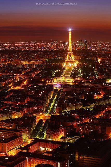 Night view of Paris with Eiffel Tower by isarescheewin, via Flickr