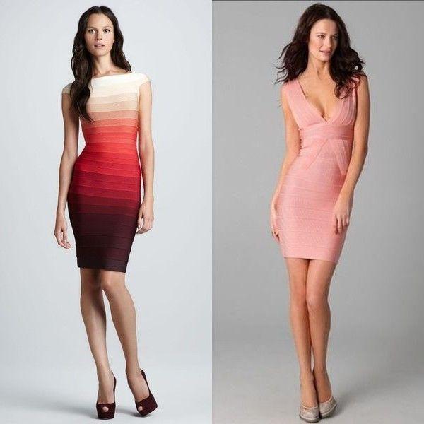 Бандажные платья Herve Leger: на фото длинные и короткие, красное и черное, белое