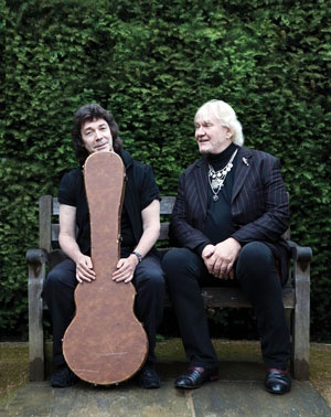 Chris Squire and Steve Hackett sitting down for a little photo shoot for their 2012 release of Squackett.  Great legends from Genesis and YES.