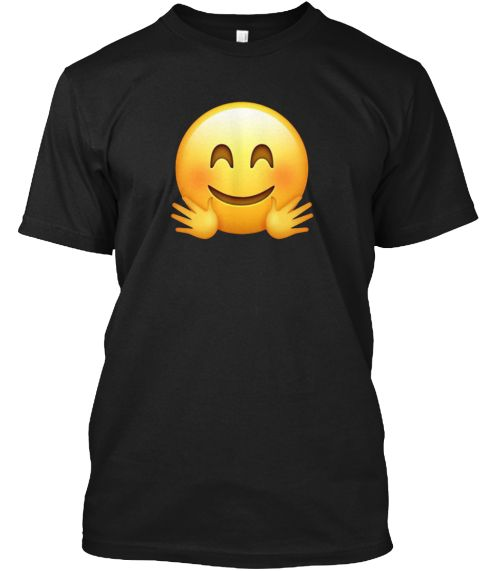 Hugging Face Hands Blush Emoji Shirt Xz Black T-Shirt Front