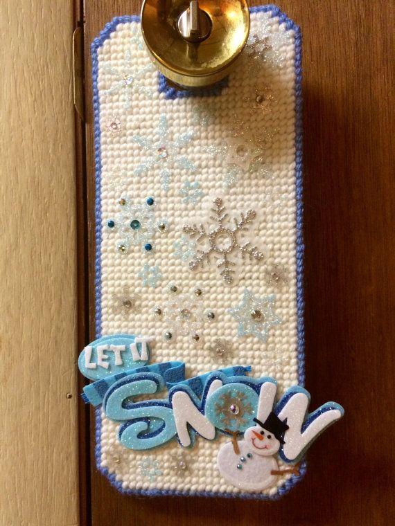 Let it Snow doorknob Hanger plastic canvas