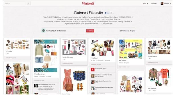 Glossybox.nl besloot op de hype in te spelen van pinterest en creëerde winacties voor vrouwen. Het enige wat je hoeft te doen is hun Facebook-pagina 'liken' en een moodboard maken met als thema 'Jouw perfecte lente look'. Deze kon je via Facebook insturen en Glossybox zette jouw moodboard op Pinterest. Degene met de meeste 'likes' op Pinterest won drie Glossybox'en. http://pinterest.com/glossyboxnl/pinterest-winactie/  Pinterest pagina van Glossybox: http://pinterest.com/glossyboxnl/