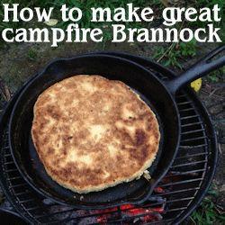 Se how to make great campfire Brannock bread - without burning it! Including cinnamon raisin brannock recipe.