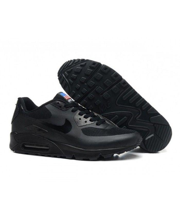 Mens Nike Air Max 90 Hyperfuse Qs All Black 6809331 256