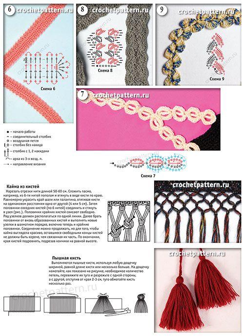 Связанные крючком образцы узоров бретелек и шлеек со схемами и описаниями. Страница 146.